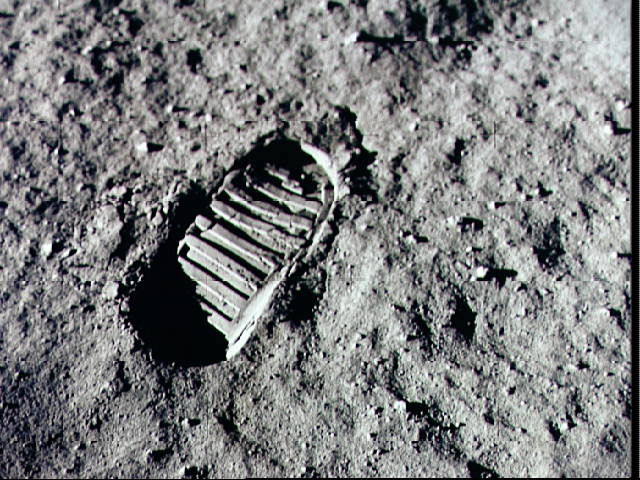Moon footprint, public domain from https://nssdc.gsfc.nasa.gov/planetary/lunar/images/a11foot.jpg